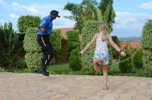 my daughter jumping rope with our day guard, Desanges